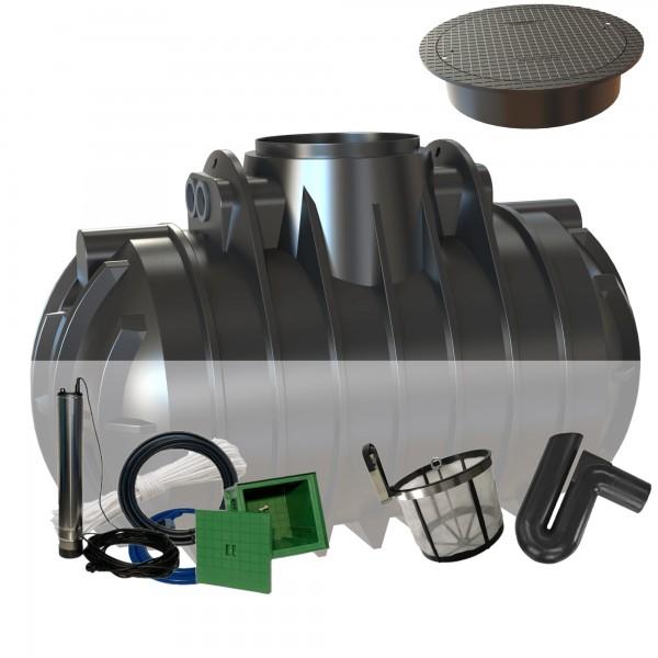Gartenanlage 2200 Liter mit Filterset zur Selbstmontage und begehbarer Abdeckung + Tauchdruckpumpe mit Automatiksteuerung