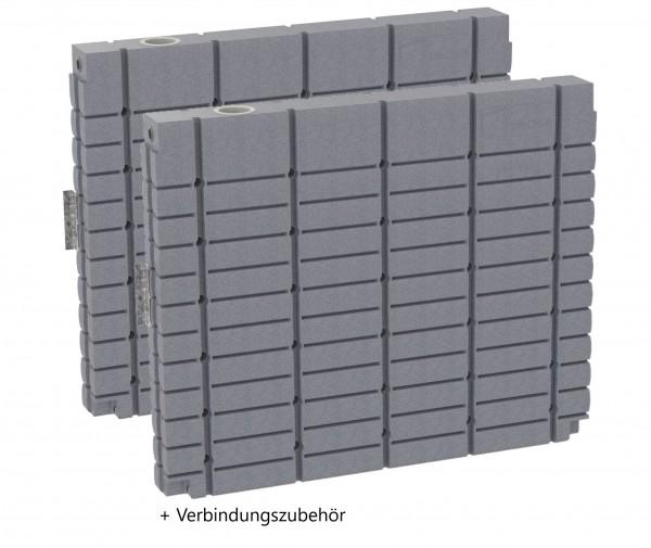 oberirdischer Regenwassertank ThinTanks Set 2 x 1000 Liter - Steingrau