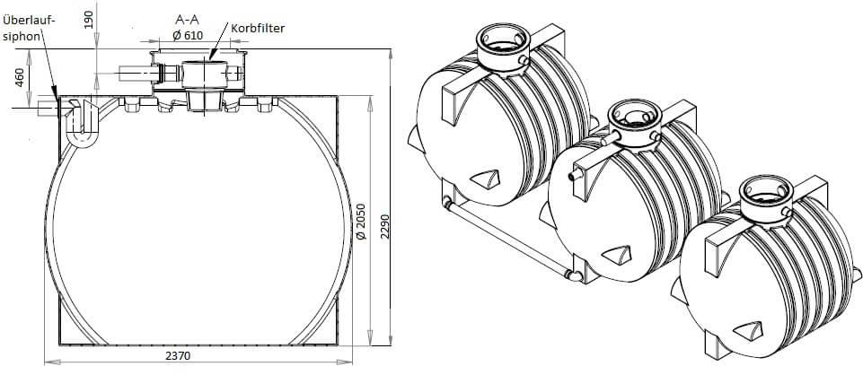 Gartenzisterne Ozeanis Trio 18000 Liter inklusive Gartenfilter und Überlaufsiphon