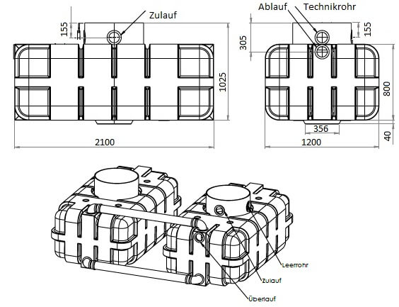 Zisterne Flachtank DUO 3400 liter