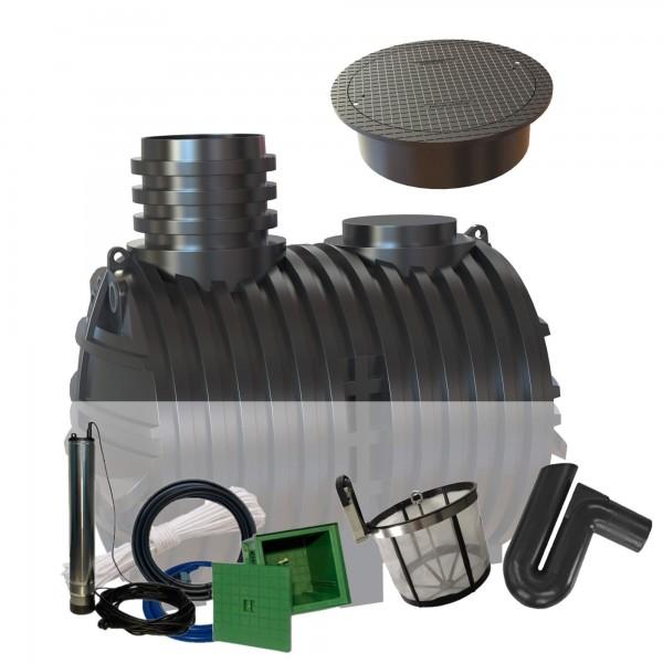 Gartenzisterne Eco-Line 5000 Liter mit Filterset zur Selbstmontage inkl. begehbarer Abdeckung + Gartenpumpe Automatik