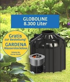 Globoline Regenwasserzisterne 8300 L mit Anschlüssen und GRATIS Aktion