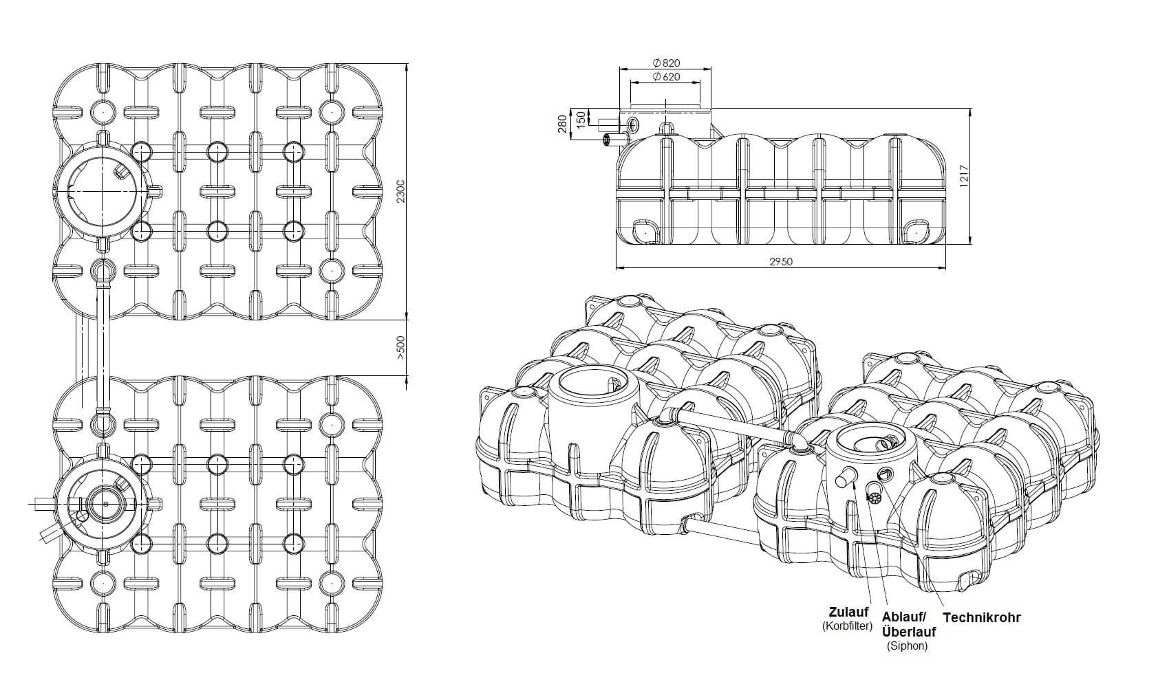 Flachtank Hudson 10000 Liter inkl. Gartenausstattung