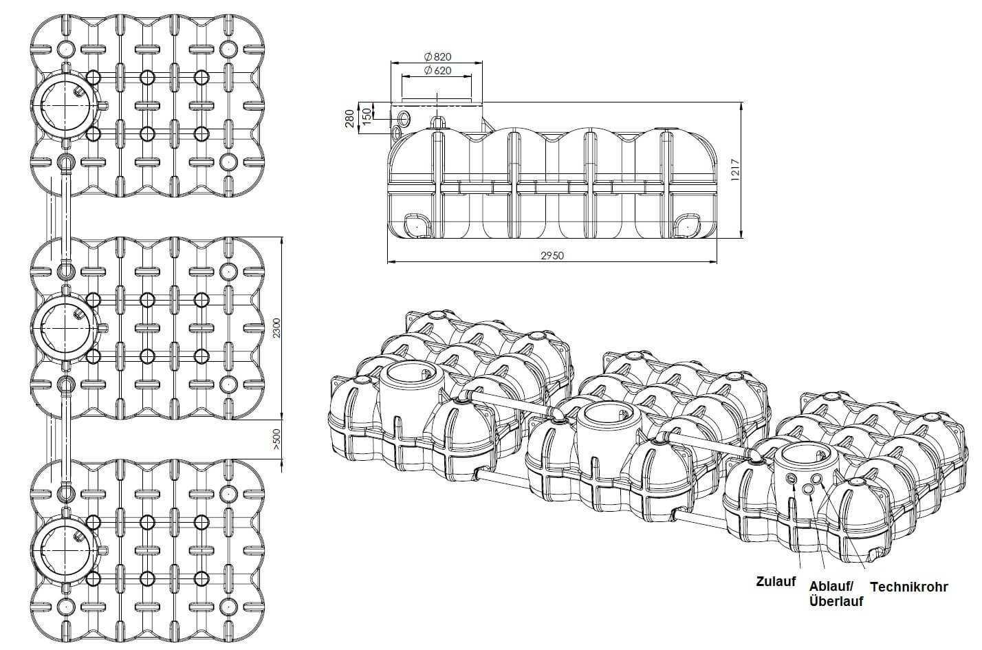 Flachtank Hudson 15000 L inklusive Anschlüsse
