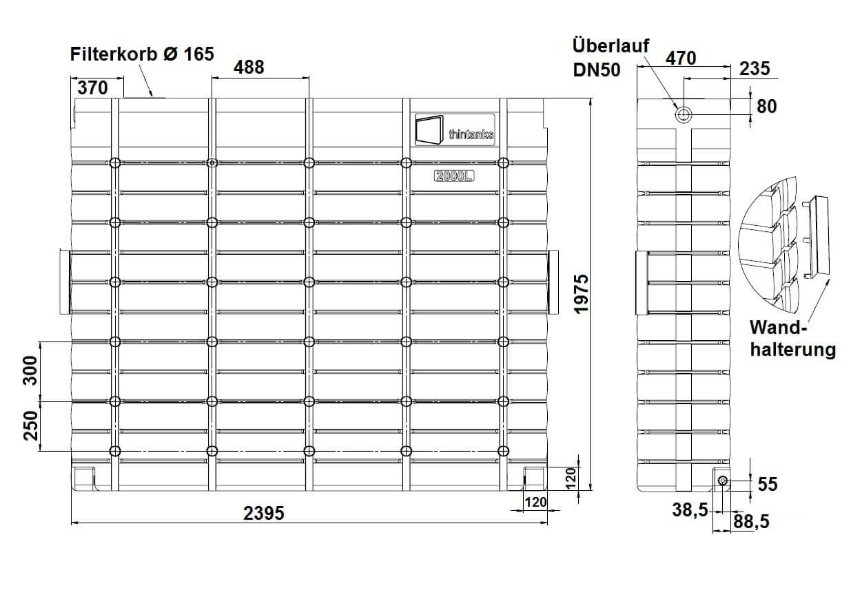 oberirdischer Regenwassertank ThinTank Set 2x2000 Liter
