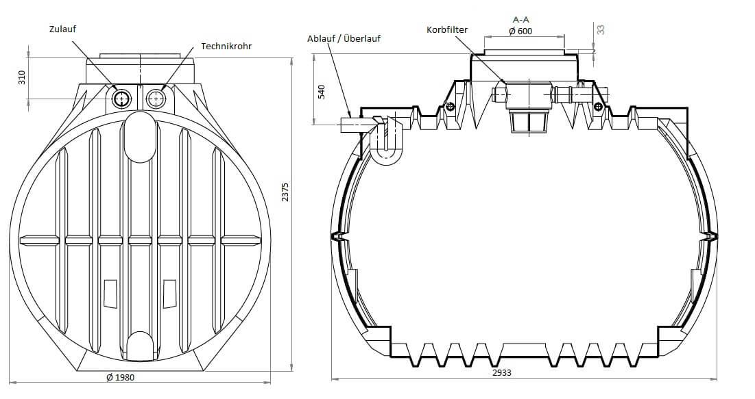 Gartenzisterne Atlantis 7000 Liter inklusive Gartenfilter und Überlaufsiphon