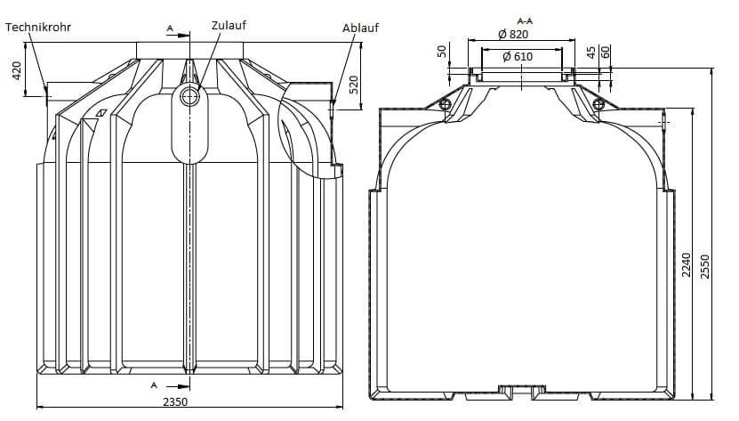 Zisterne Globoline 8300 Liter inklusive Anschlüsse
