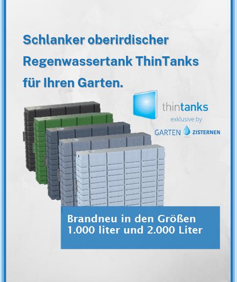 ThinTanks oberirdischer Regenwassertank jetzt vorbestellen und 15% sparen