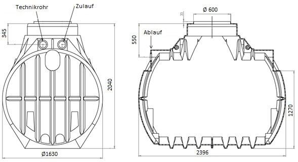 Zisterne Atlantis 4000 Liter inklusive Anschlüsse