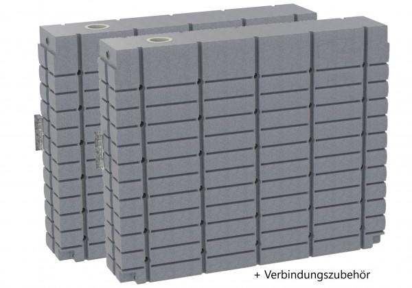 oberirdischer Regenwassertank ThinTanks Set 2 x 2000 Liter mit Verbindungsmaterial - Steingrau