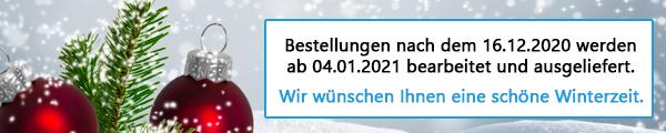 Bestellungen nach dem 16.12.2020 werden ab 04.01.2020 bearbeitet und ausgeliefert.